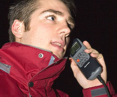 RYA VHF Radio course online user using a radio